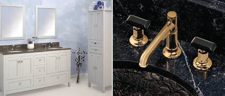 Gold bathroom faucet Invari™ Bath Collection by Brizo® and Dual Strasser white bathroom vanity with dark granite and matching free standing closet