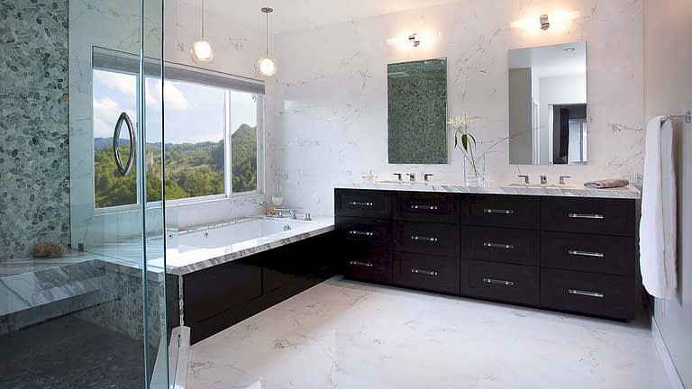 Two PL Series Robern Medicine Cabinets mounted in bathroom