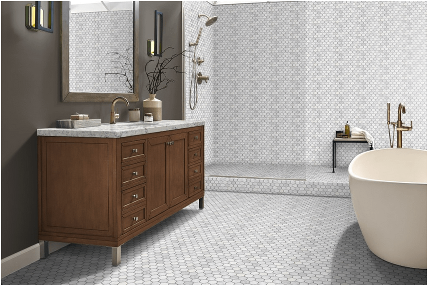 White winter frost hex tile in bathroom